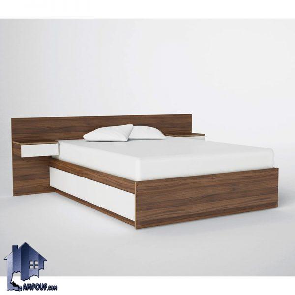 تخت خواب دو نفره DBJ119 دارای پاتختی و به صورت کشو دار که با طراحی زیبا به عنوان تختخواب دونفره با کفی فلزی در اتاق خواب در کنار سرویس خواب استفاده میشود.