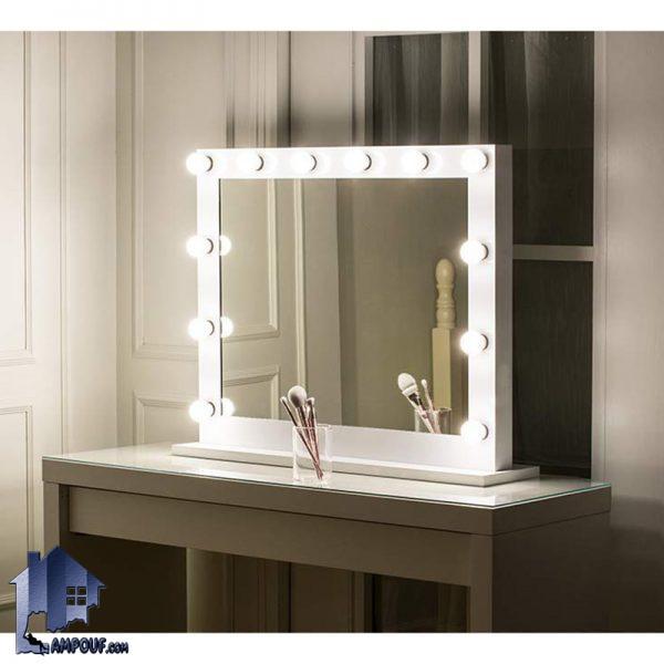 میز آرایش لامپ دار DJ345 به صورت کشو دار و آینه دار که دارای آینه چراغ دار بوده و به عنوان میز توالت در داخل اتاق خواب و در کنار سرویس خواب استفاده میشود.
