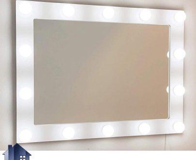 آینه دیواری لامپ دار SMJ208 قابل نصب به روی دیوار که میتواند به روی انواع میز های کنسول و آرایش و توالت و دراور در اتاق و در کنار سرویس خواب قرار بگیرد