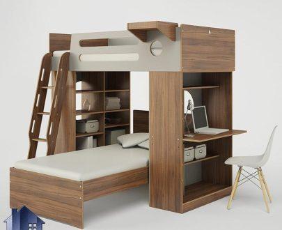 تخت خواب دو طبقه TBJ22 دارای تختخواب های یک نفره و میز تحریر و کتابخانه و قفسه که به عنوان تخت کمجا در کنار سرویس خواب در داخل اتاق خواب استفاده میشود.