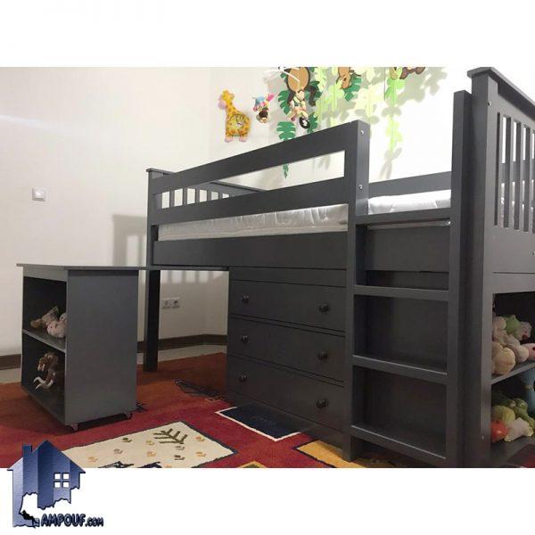 نمونه عکس محصول تولید شده تخت خواب دو طبقه TBJ23 به صورت سرویس خواب کامل دارای دراور قفسه کتابخانه و میز تحریر که به عنوان تختخواب یک نفره چوبی کمجا در داخل اتاق خواب استفاده میشود