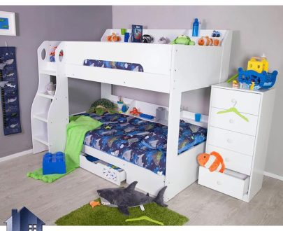 تخت خواب دو طبقه TBJ25 به صورت کشو دار و دارای دراور 5 کشو مجزا که در داخل اتاق خواب کودک و نوجوان و بزرگسال در کنار دیگر لوازم سرویس خواب قرار میگیرد.
