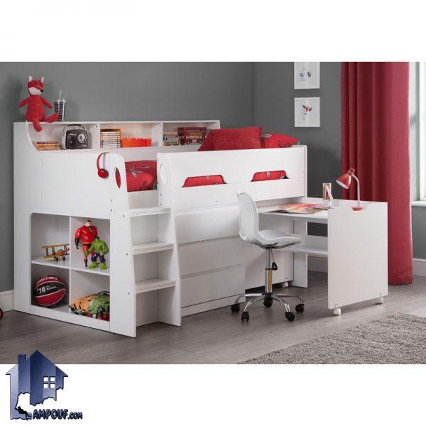 تخت خواب دو طبقه TBJ27 دارای قفسه و ویترین و میز تحریر کشویی و دراور که به عنوان یک تختخواب یکنفره کمجا و به صورت سرویس خواب در داخل اتاق خواب قرار میگیرد.