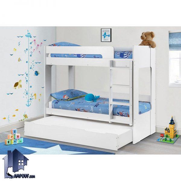 تخت خواب دو طبقه TBJ28 دارای یک تخت کشویی میهمان که به عنوان تختخواب سه طبقه در کنار دیگر سرویس خواب در اتاق خواب کودک و نوجوان مورد استفاده قرار میگیرد