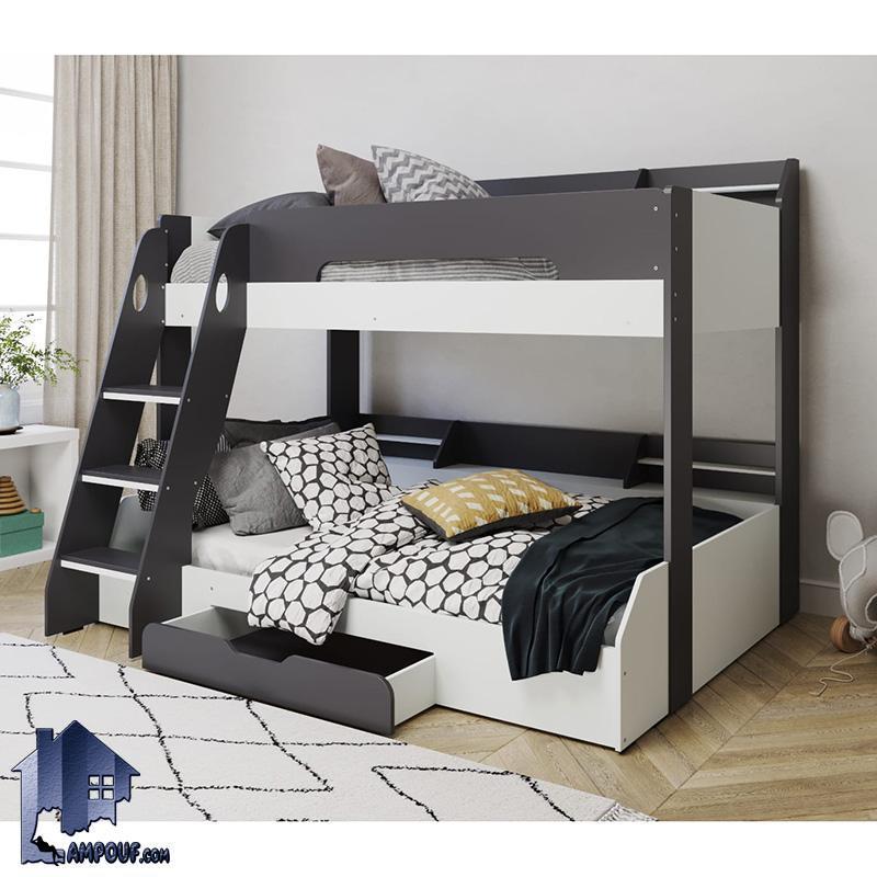 تخت خواب دو طبقه TBJ30 به صورت کشو دار با طراحی به صورت تختخواب دوطبقه کمجا بوده و مناسب برای استفاده در کنار سرویس خواب در اتاق کودک و نوجوان میباشد