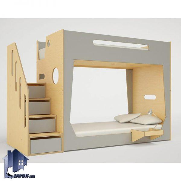 تخت خواب دو طبقه TBJ48 دارای میز تحریر کمجا و پله دراور و حفاظ که به صورت تختخواب دوطبقه در داخل اتاق خواب کودک و نوجوان در کنار سرویس خواب قرار میگیرد.