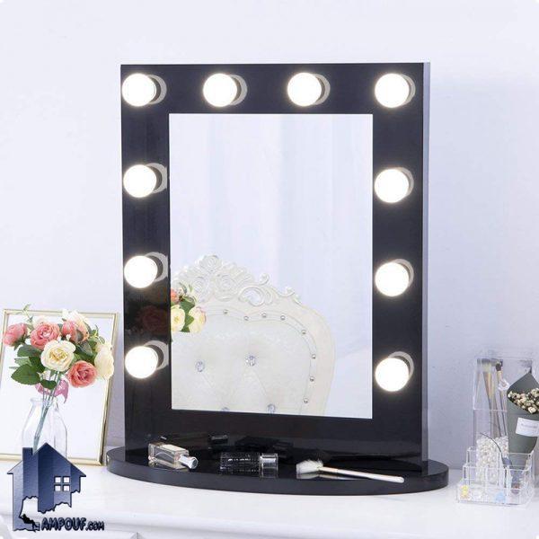 آینه رومیزی لامپ دار SMJ207 که میتواند به روی تمامی میز های آرایش و کنسول ها و میز توالت ها به صورت چراغ دار در داخل اتاق و در کنار سرویس خواب قرار بگیرد.