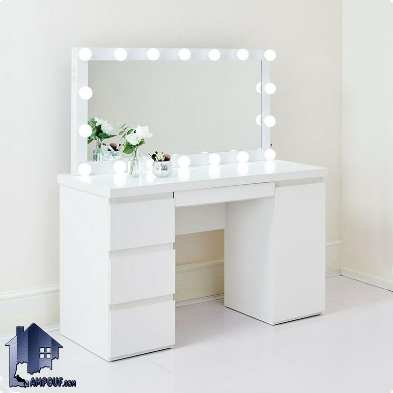 میز آرایش لامپ دار DJ349 به صورت یک کنسول و دراور و میز توالت لامپدار و چراغ دار و همچنین کشو دار که در کنار سرویس خواب در داخل اتاق خواب استفاده میشود