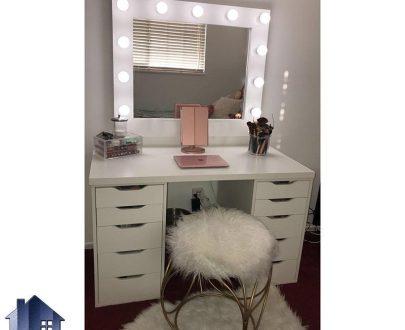میز آرایش لامپ دار DJ351 به صورت آینه دار و چراغ دار که به عنوان کنسول و دراور و میز توالت کشو دار در کنار سرویس خواب در داخل اتاق خواب استفاده میشود