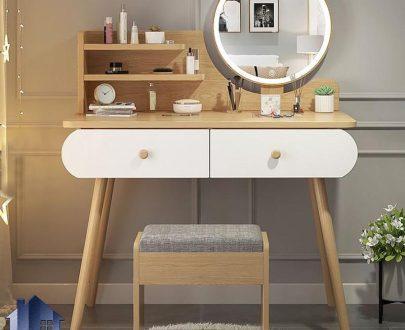 میز آرایش DJ355 به صورت کشو دار و آینه دار که به عنوان میز توالت و کنسول و دراور پایه چوبی در داخل اتاق خواب و در کنار سرویس خواب مورد استفاده قرار میگیرد.