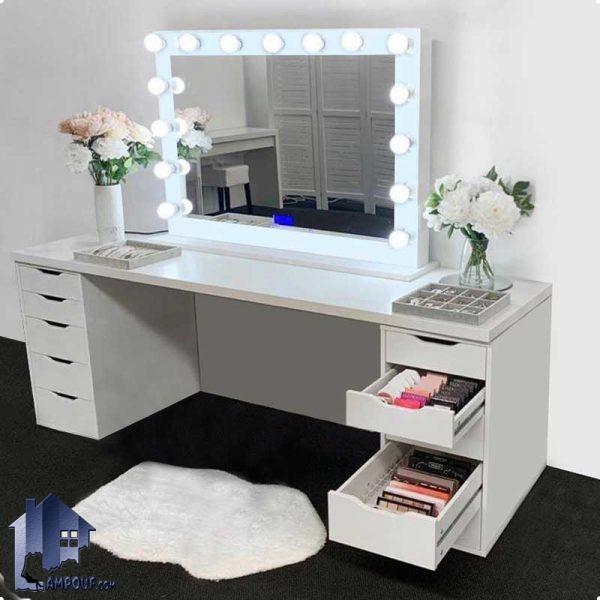 میز آرایش لامپ دار DJ361 که به عنوان کنسول و میز توالت و گریم با آینه چراغ دار و کشو که در داخل اتاق خواب و در کنار سرویس خواب مورد استفاده قرار میگیرد