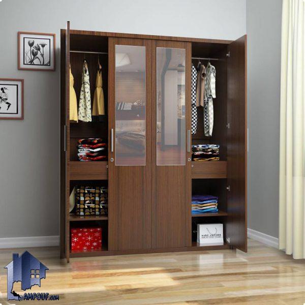کمد جالباسی LHJ293 به صورت آینه دار و دارای کشو و قفسه و میله آویز رگال لباس که به عنوان استند لباس و جا لباسی و کمد دیواری اتاق خواب مورد استفاده میشود