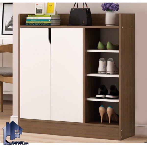 جاکفشی SHJ329 به صورت درب دار با دو درب و قفسه دار که به عنوان جا کفشی استند و کمد کفش در قسمت ورودی منزل و در داخل اتاق خواب مورد استفاده قرار میگیرد.