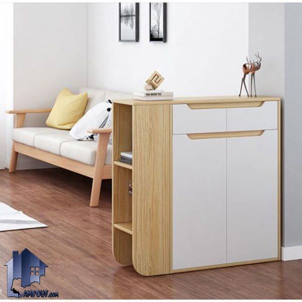 جاکفشی SHJ331 دارای درب و کشو که به صورت قفسه دار ویترینی و به عنوان کمد و استند کفش و جا کفشی دکوراتیو در ورودی منزل و اتاق خواب مورد استفاده قرار میگیرد.