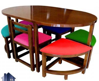 ست میز نهارخوری 6 نفره DTB17 مناسب برای ناهار خوری آشپزخانه و پذیرایی و کافی شاپ و رستوران که با طراحی به صورت ست میز و صندلی شش نفره و کمجا ساخته شده است
