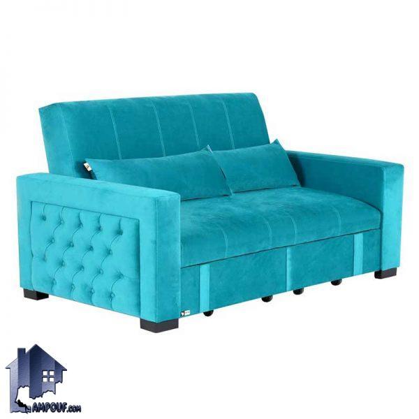 مبل تختخوابشو دو نفره شیوا FFRA103 که به عنوان مبلمان و کاناپه و تخت خواب دونفره در داخل منزل و ادارات و شرکت ها و مطب ها و اتاق مدیریت استفاده میشود.