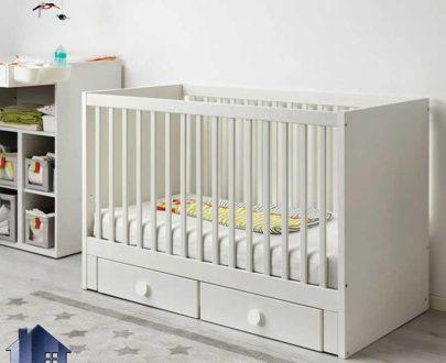 تخت خواب کودک CHJ116 که به عنوان تختخواب مخصوص نوزاد در داخل اتاق خواب کودکان و نوزادان در کنار دیگر اقلام سرویس خواب و سیسمونی مورد استفاده قرار میگیرد