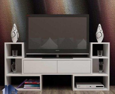 میز LCD مدل TTJ81 دارای قفسه و درب جکدار که به عنوان براکت و استند تلویزیون و ال سی دی در قسمت تی وی روم و دکور پذیرایی منزل مورد استفاده قرار میگیرد.