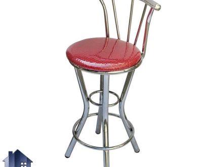 صندلی اپن BSM204 با نشیمن نرم و بدنه فلزی که در کنار میز بار کانتر و پیشخوان در آشپزخانه رستوران و کافی شاپ پذیرایی و فضای باز استفاده میشود.