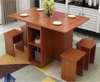 ست میز نهارخوری DTj67 به صورت چهار نفره با صندلی که به عنوان غذاخوری و ناهار خوری در آشپزخانه و پذیرایی و رستوران و کافی شاپ استفاده میشود.