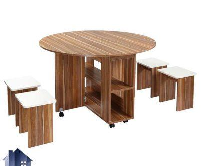میز نهارخوری تبدیلی DTJ70 با صفحه گرد تاشو و کمجا دارای صندلی که به عنوان غذاخوری و ناهار خوری در آشپزخانه پذیرایی کافی شاپ استفاده میشود.