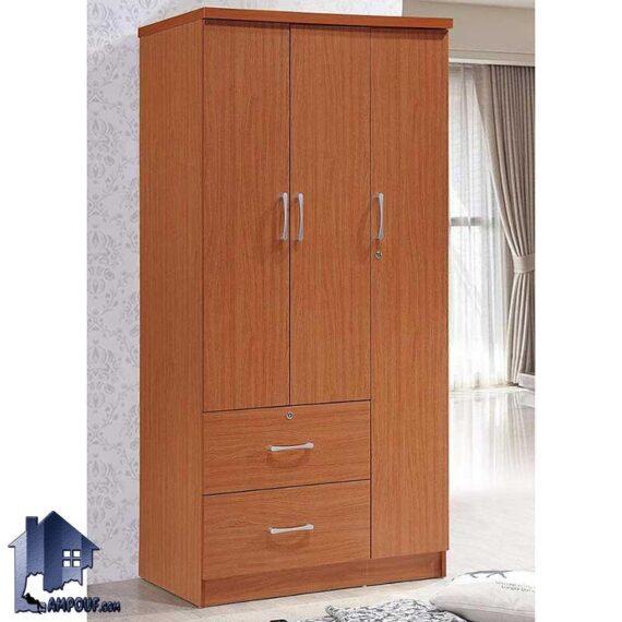 کمد جالباسی LHJ297 دارای سه درب و دو کشو و میله آویز رگال لباس که به عنوان استند کفش لباس یا کمد دیواری در داخل اتاق خواب در کنار سرویس خواب استفاده میشود.