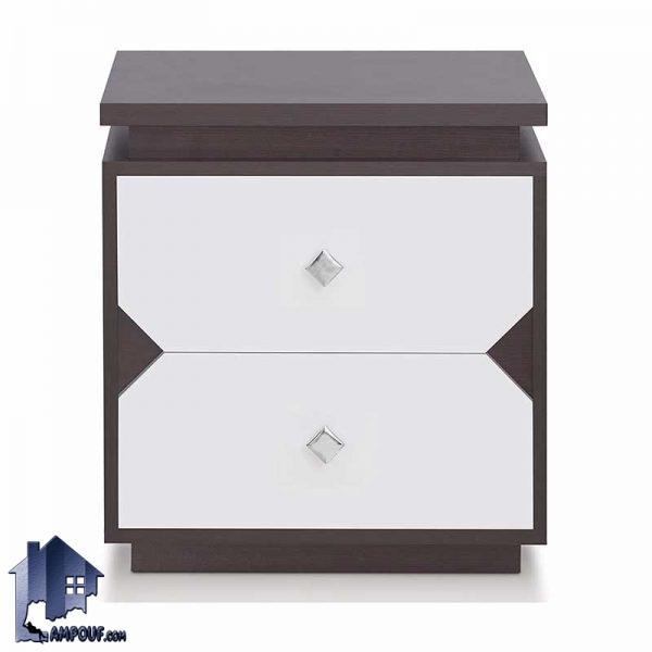 پاتختی BSTJ105 به صورت دراور دو کشو که به عنوان میز عسلی کنار تخت و مبلمان در کنار سرویس خواب در اتاق و داخل پذیرایی مورد استفاده قرار میگیرد