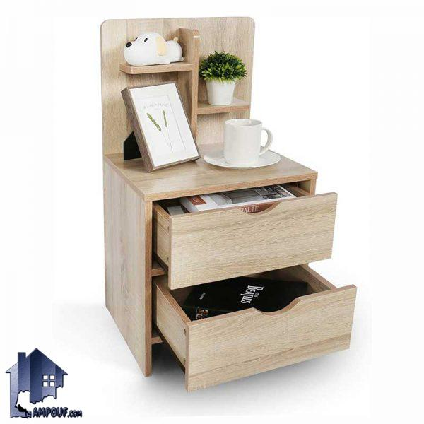 پاتختی BSTJ106 کشو دار و قفسه دار که به عنوان میز کنار تخت و یا میز کنار مبلمان و جای آباژور در کنار سرویس خواب در اتاق خواب استفاده میشود