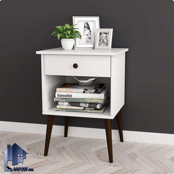 پاتختی BSTJ108 با پایه چوبی و به صورت کشو دار و قفسه دار که در کنار تخت و سرویس خواب و مبلمان به عنوان میز و یا دراور مورد استفاده قرار میگیرد
