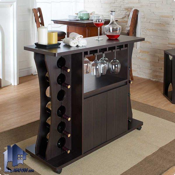 میز بار BTJ116 که به عنوان ویترین قفسه دکور بار و برای قرار گیری بطری که در داخل پذیرایی منازل و ویلا ها و کافی شاپ و رستوران استفاده میشود.