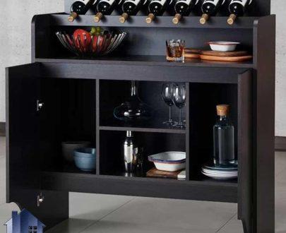 میز بار BTJ117 که به عنوان ویترین و دکور و قفسه بطری و کمد ظروف در پذیرایی منازل و ویلا و در رستوران و کافی شاپ مورد استفاده قرار میگیرد.