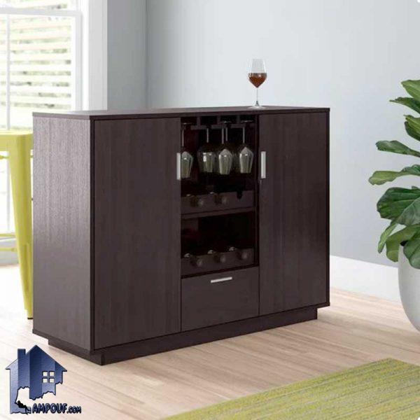 میز بار BTJ119 کشو دار و درب دار که به عنوان ویترین و کمد و یا استند ظرف و بطری در کنار دکور آشپزخانه و پذیرایی و کافی شاپ استفاده میشود.