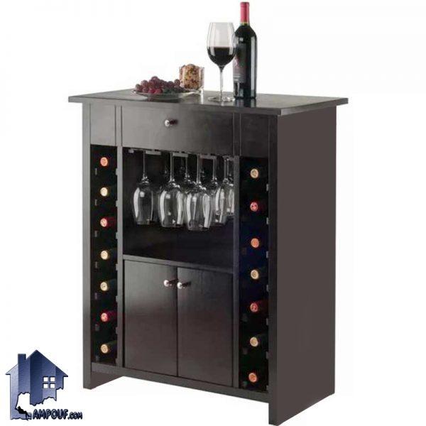 میز بار BTJ120 به صورت کشو دار و درب دار و به صورت ویترین برای قرار گیری بطری و گیلاس که در آشپزخانه و پذیرایی و کافی شاپ استفاده میشود