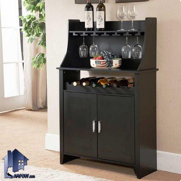 میز بار BTJ121 که به عنوان ویترین و استند بار و کمد ظرف و بطری و گیلاس در آشپزخانه و پذیرایی و کافی شاپ و رستوران قابل استفاده میباشد.
