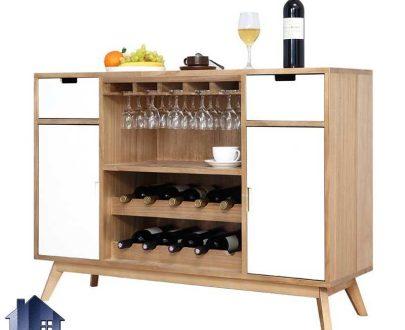 میز بار BTJ122 کشو دار و درب دار و دارای جای بطری و آویز گیلاس که به عنوان دکور و ویترین بار در آشپزخانه و پذیرایی و کافی شاپ قرار میگیرد.
