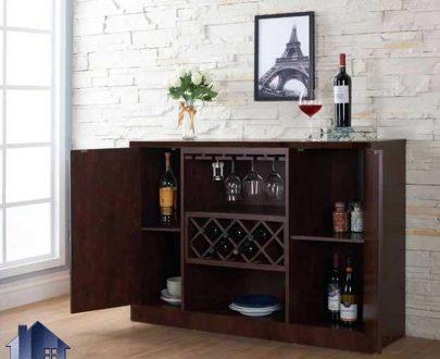 میز بار BTJ123 دارای درب و قفسه بطری و آویز گیلاس که به عنوان کمد ویترین در آشپزخانه و پذیرایی و رستوران و کافی شاپ مورد استفاده قرار میگیرد