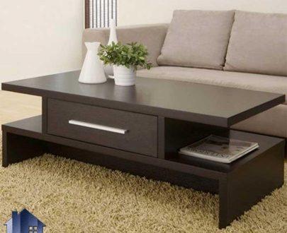 میز جلومبلی HOJ124 به صورت کشو دار و قفسه دار که به عنوان جلو مبلی و عسلی خانگی و اداری در قسمت پذیرایی منزل کنار مبلمان استفاده میشود.
