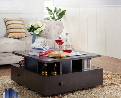 میز جلومبلی HOJ125 کشو دار و قفسه دار به صورت مربعی که به عنوان میز عسلی و جلو مبلی خانگی و اداری در کنار مبلمان مورد استفاده قرار میگیرد.
