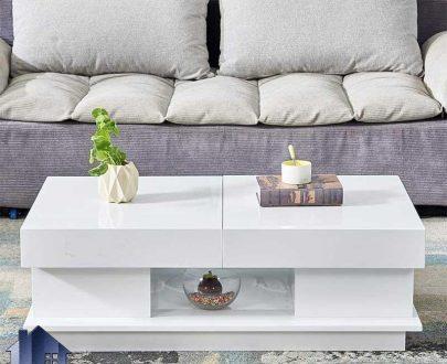 میز جلومبلی HOJ131 به صورت مکانیزم بازشو و کشو دار که به عنوان میز پذیرایی و جلو مبلی در کنار مبلمان اداری و خانگی مورد استفاده قرار میگیرد.
