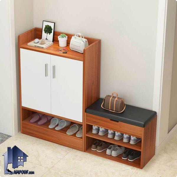 جاکفشی نیمکتدار SHJ291 به صورت نیمکت دار و دارای قفسه و درب بوده و به عنوان استند کفش در قسمت ورودی منزل و یا اتاق خواب قابل استفاده میباشد.