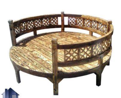 تخت چوبی سنتی گرد TrK235 که دارای قطر 180 سانتیمتر و مخصوص سفره خانه قهوه خانه رستوران سنتی بوده و به صورت باغی و خراطی شده ساخته میشود.