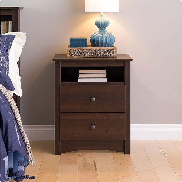 پاتختی BSTJ114 به صورت کشو دار و قفسه دار که به عنوان میز کنار تخت و سرویس خواب و مبلمان و دراور و میز MDF تلفن و آباژور استفاده میشود.