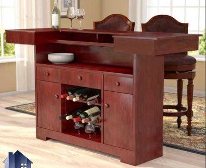 میز بار BTJ125 که به عنوان کمد و ویترین کشو دار و درب دار و قفسه در پذیرایی و آشپزخانه و رستوران و کافی شاپ و فست فود ها استفاده میشود.