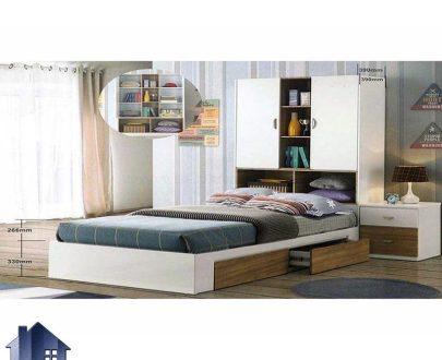 تخت خواب دو نفره DBJ148 کمد دار و کتابخانه دار و قفسه دار و کشو دار که به عنوان سرویس خواب و تختخواب دونفره کمجا کینگ و کوئین استفاده میشود