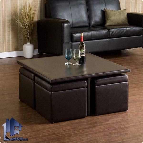 میز جلومبلی HOJ139 به صورت چرمی به همراه 4 باکس درب دار که به عنوان جلو مبلی و عسلی و پاف در کنار مبلمان پذیرایی خانگی و ادرای استفاده میشود.