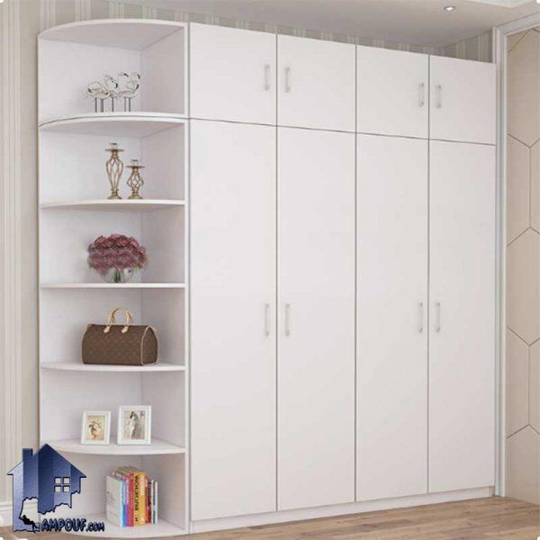 کمد جالباسی LHJ300 به صورت درب دار که به عنوان کمد دیواری لباس و ویترین و قفسه و شلف گوشه ای در داخل اتاق خواب مورد استفاده قرار میگیرد.