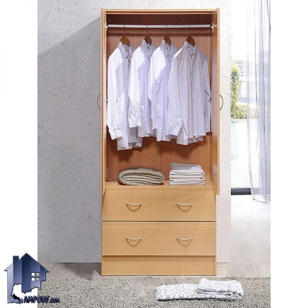 کمد جالباسی LHJ302 دارای دراور و میله آویز رگال لباس که به عنوان استند لباس و کفش در کنار سرویس خواب در داخل اتاق مورد استفاده قرار میگیرد