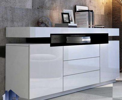 کنسول SCJ196 کشو دار و قفسه دار و درب دار که به عنوان میز آرایش و گریم و میز توالت در اتاق خواب و میز تزئینی در پذیرایی استفاده میشود.