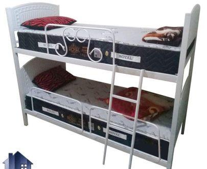تخت خواب دو طبقه TBV56 دارای جنس فلز با تاج وکیوم که به عنوان سرویس خواب و تختخواب دوطبقه فلزی در اتاق نوجوان و بزرگسال استفاده میشود
