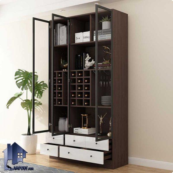 میز بار BTJ130 دارای کشو و قفسه و درب شیشه ای که به عنوان کمد و ویترین بار در پذیرایی و آشپزخانه و یا رستوران و کافی شاپ استفاده میشود.